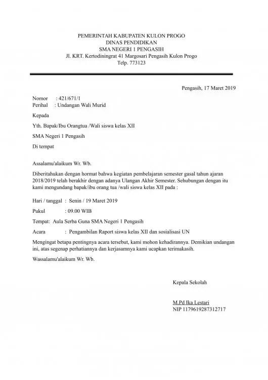 Contoh Surat Dinas Undangan Rapat Di Perusahaan