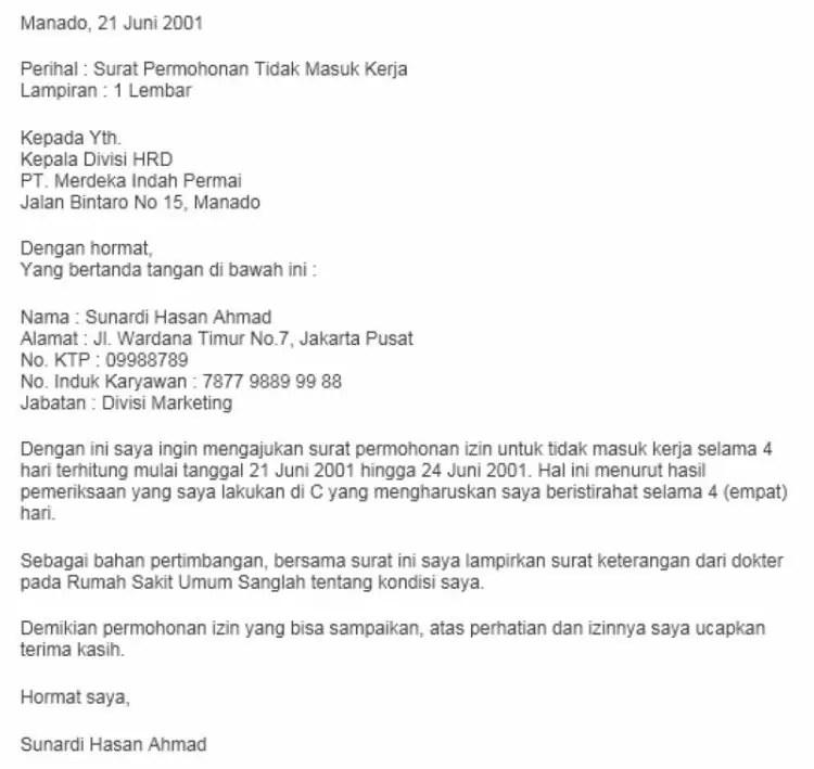 Contoh Surat Izin Tidak Masuk Kerja Dengan Keterangan Rt Dan Rw