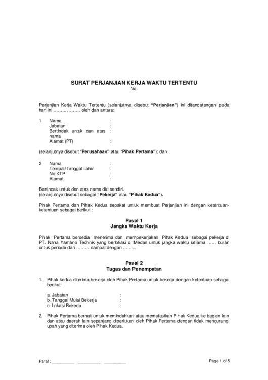 Contoh Surat Kontrak Kerja Singkat Dan Sederhana