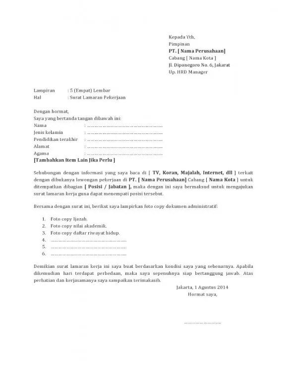 Contoh Surat Lamaran Apoteker