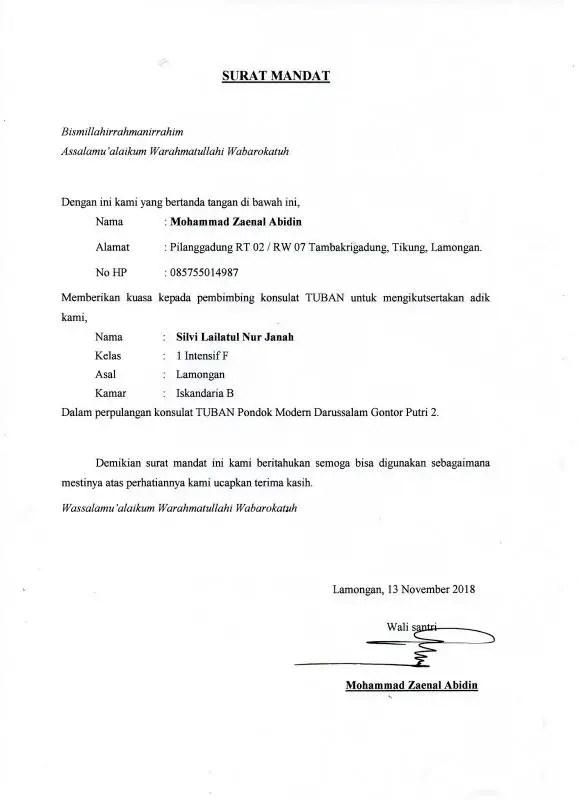 Contoh Surat Mandat Karyawan Baru