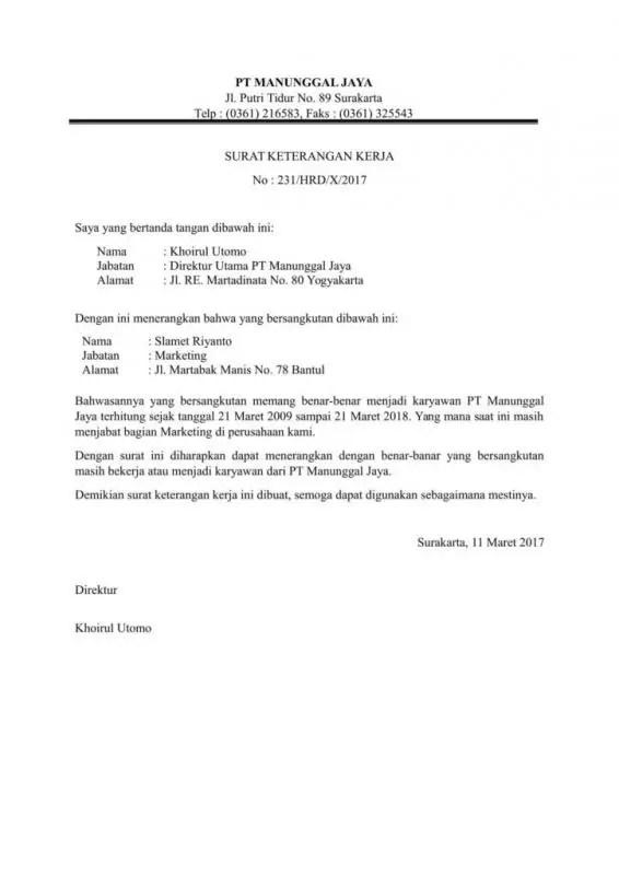 Contoh Surat Paklaring Sebagai Asisten Kepala Bagian