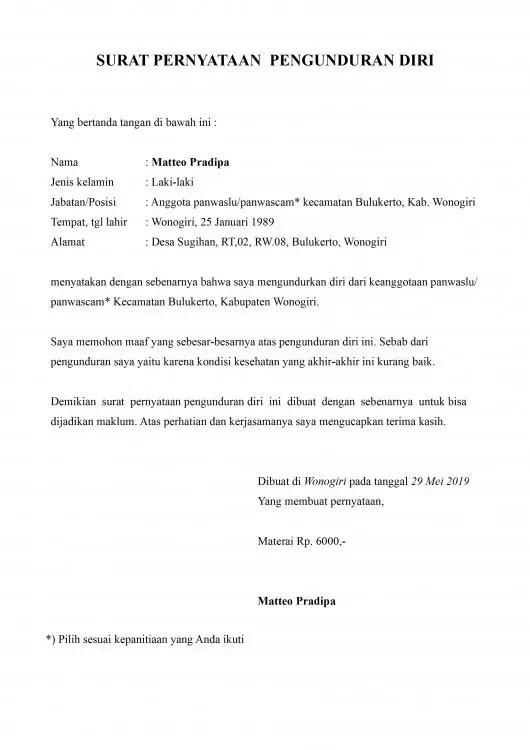 35++ Contoh surat pengunduran diri yang menyentuh hati terbaru yang baik dan benar