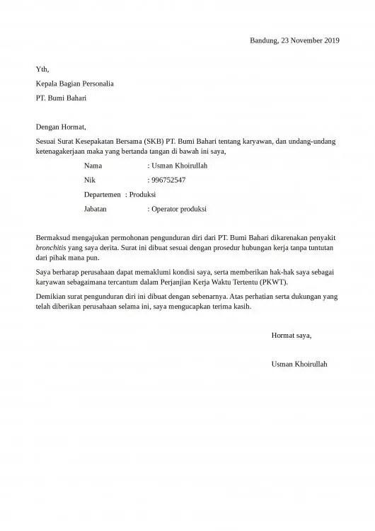 Contoh Surat Pengunduran Diri Karena Tidak Menyetujui Kesepakatan