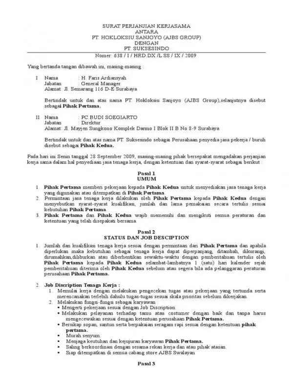 Contoh Surat Perjanjian Kerjasama Antar Instansi Pemerintah Bagian Isi (Kominfo Dan Kemenpar Pasal 3 Hingga 8)