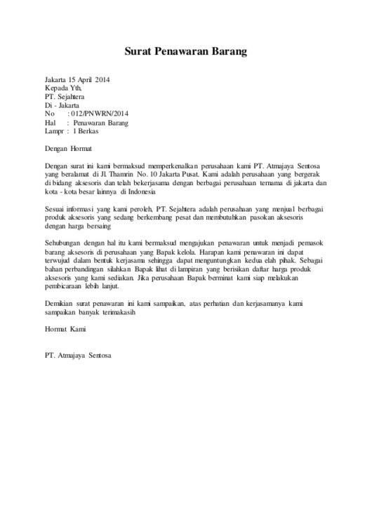 Contoh Surat Pesanan Barang Berdasarkan Iklan