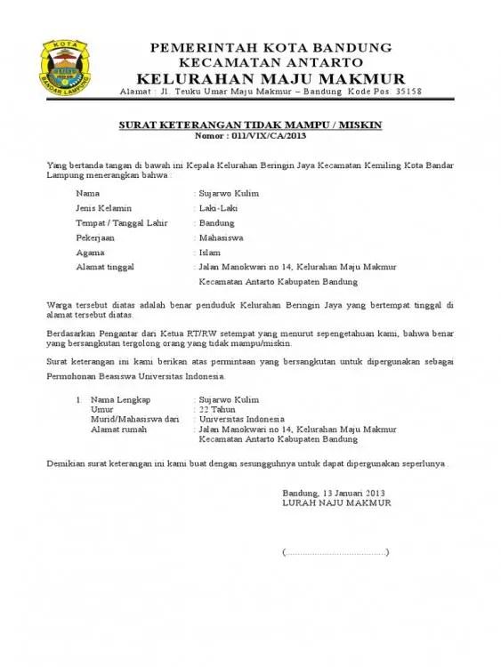 Contoh Surat Rekomendasi Untuk Mendapatkan Beasiswa Kurang Mampu