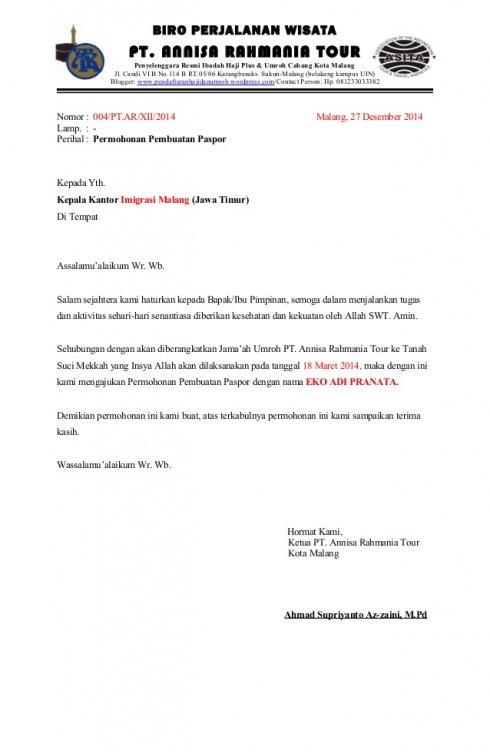 Contoh Surat Rekomendasi Untuk Pembuatan Passport
