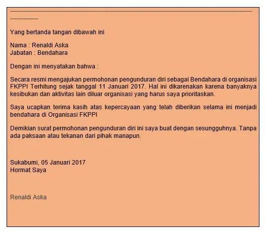 Contoh Surat Resign Dari Partai
