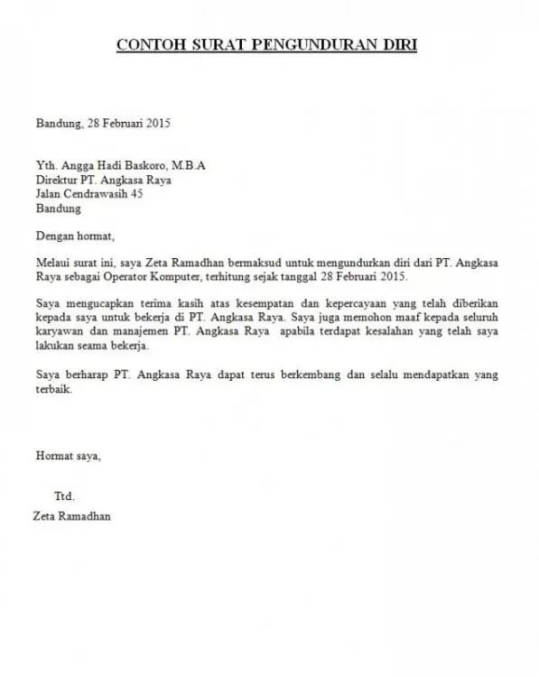 Contoh Surat Resign Karyawan Kontrak