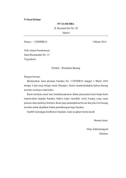 Surat Niaga Tentang Penolakan Penawaran