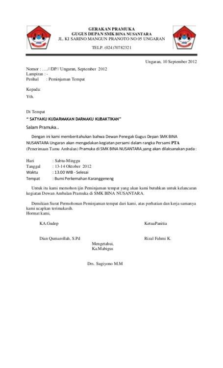 Surat Peminjaman Barang Dari Ekskul Pramuka