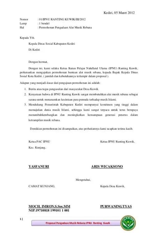 Surat Peminjaman Barang Dari Remaja Masjid
