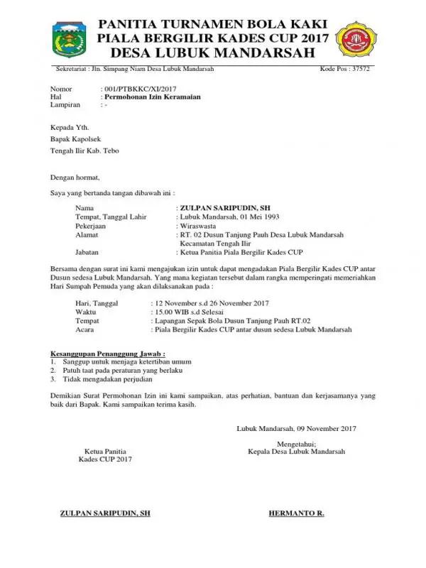 Contoh Surat Izin Keramaian Untuk Pertandingan Sepakbola Antar Provinsi