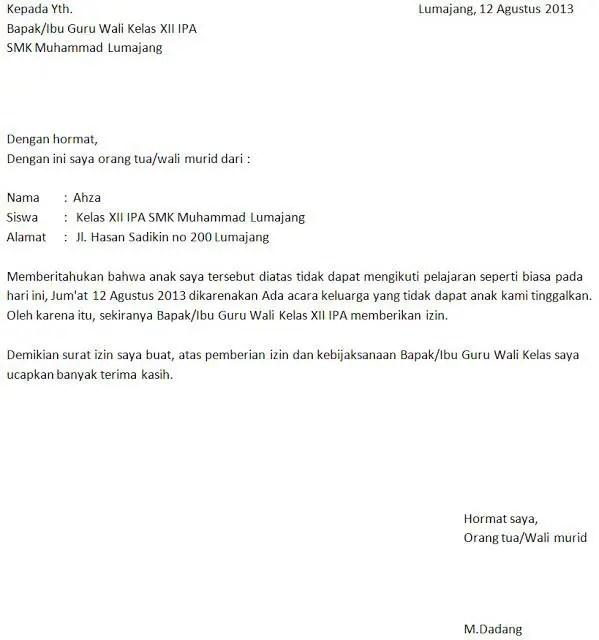Contoh Surat Izin Orang Tua Karena Kepentingan Keluarga