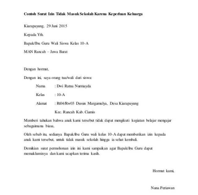 Contoh Surat Izin Sekolah Karena Urusan Keluarga Selama Beberapa Hari