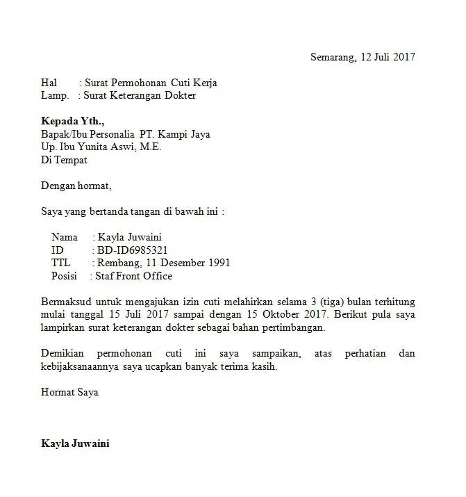 Contoh Surat Izin Tidak Masuk Kerja Karena Akan Melahirkan