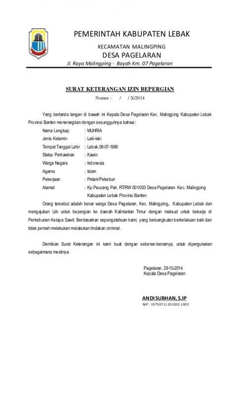 Contoh Surat Jalan Dari Kepala Desa