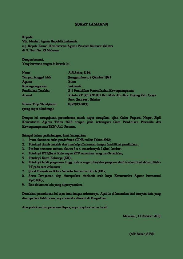 Contoh Surat Lamaran CPNS Kementerian Agama 1