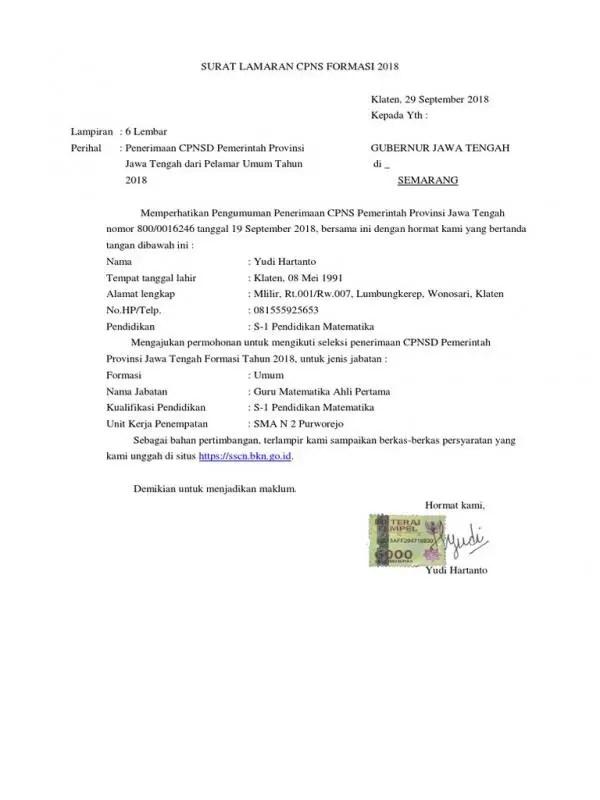 Contoh Surat Lamaran CPNS Pemerintah Provinsi Tipe 2