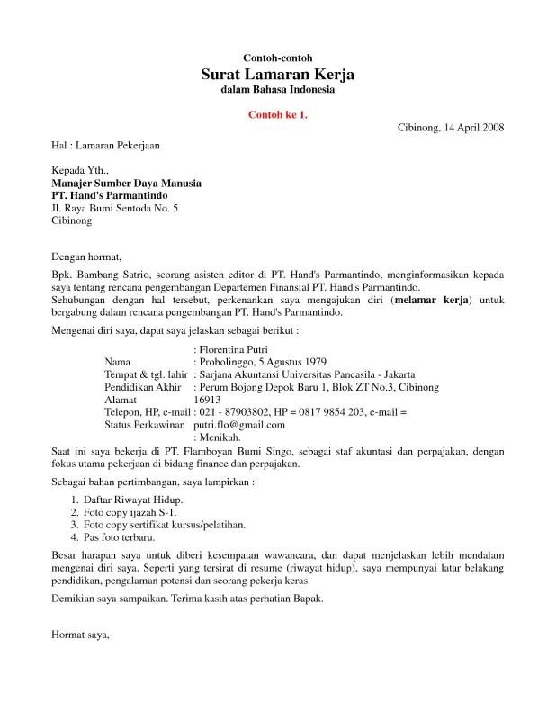 Contoh Surat Lamaran Kerja Profesional