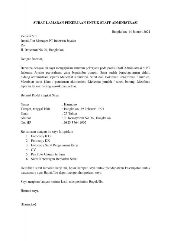 Contoh Surat Lamaran Kerja Untuk Pekerja Dengan Pengalaman