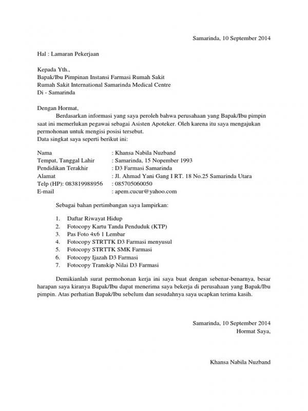 Contoh Surat Lamaran Kerja Di Rumah Sakit Posisi Apoteker