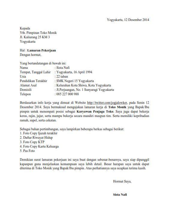 Contoh Surat Lamaran Kerja Di Toko Buku