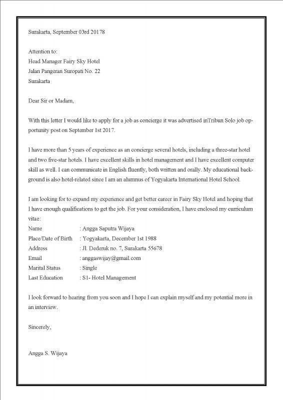 Contoh Surat Lamaran Kerja Via Email Untuk Kerja Di Hotel