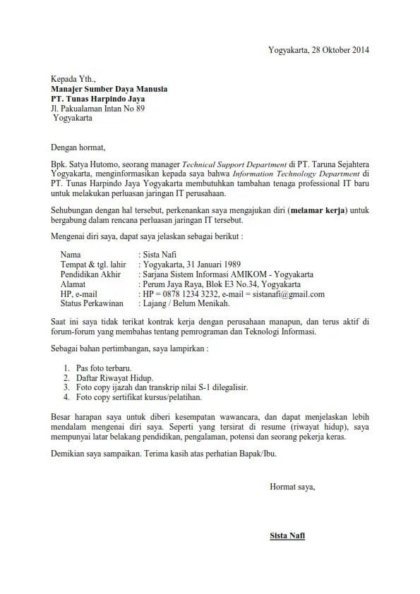 Contoh Surat Lamaran Kerja Via Email Untuk Pelaut