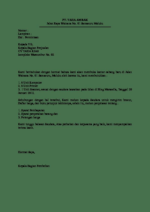 Contoh Surat Niaga Penawaran Alat