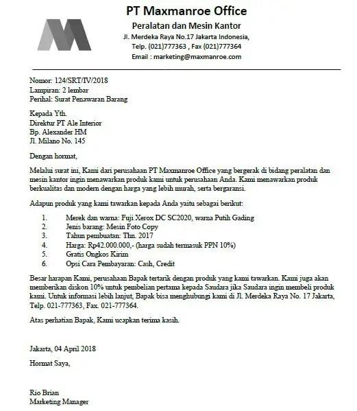 Contoh Surat Niaga Penawaran Produk Perusahaan
