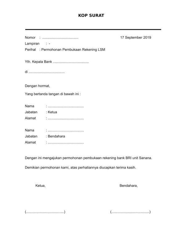 Contoh Surat Pembukaan Rekening Bank BRI