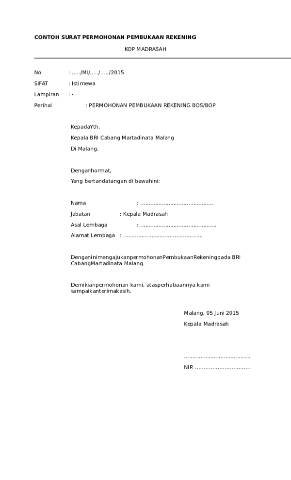 Contoh Surat Pembukaan Rekening Organisasi