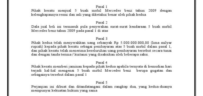 Contoh Surat Perjanjian Jual Beli Mobil Bekas Bagian Isi E1603517648678