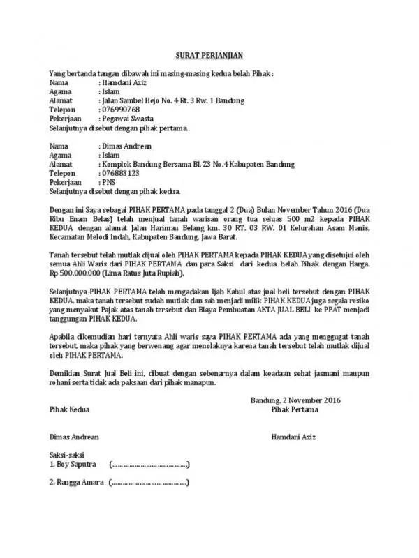 9 Contoh Surat Perjanjian Jual Beli Tanah Warisan Bangunan Lainnya