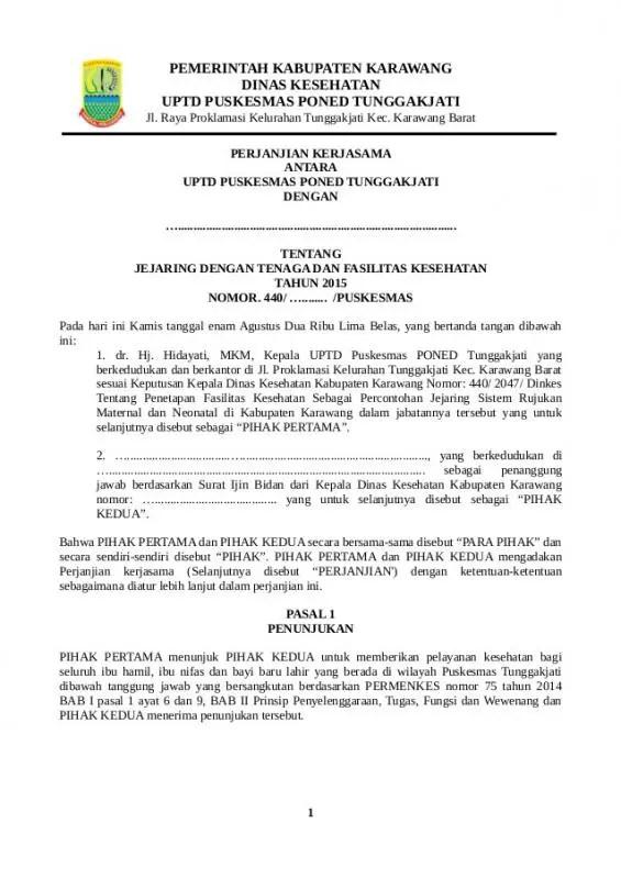 Contoh Surat Perjanjian Kerjasama Antar Instansi Pemerintah Kabupaten Dan Kejaksaan Bagian Pembuka