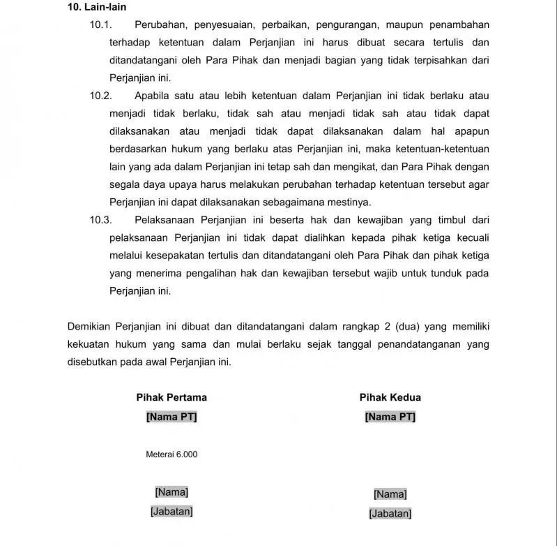 Contoh Surat Perjanjian Kerjasama Investasi Usaha Bagian Penutup