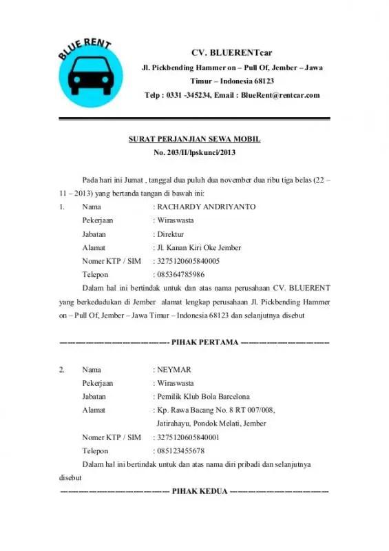 Contoh Surat Perjanjian Kesepakatan Sewa Kendaraan