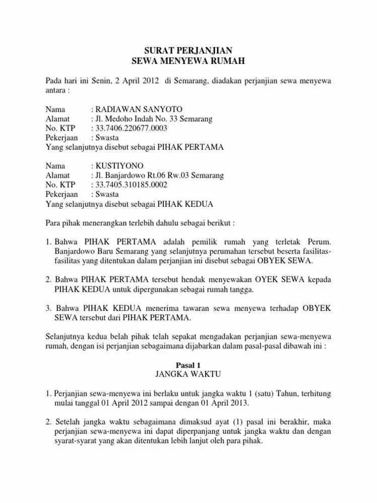 Contoh Surat Perjanjian Sewa Rumah Mewah