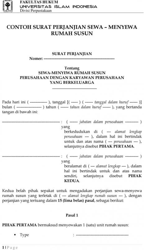 Contoh Surat Perjanjian Sewa Tanah Rusun