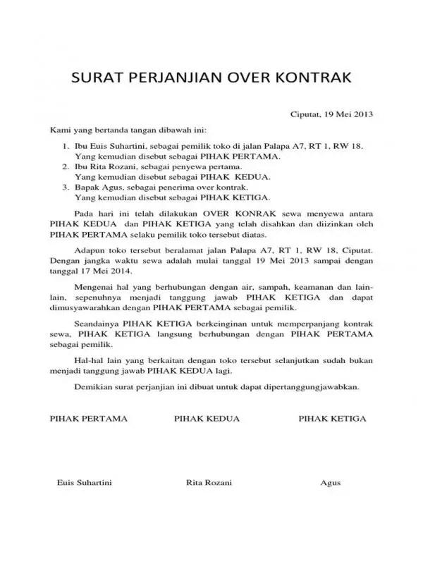 Contoh Surat Perjanjian Sewa Tempat Usaha Over Kontrak Bagian Pembuka