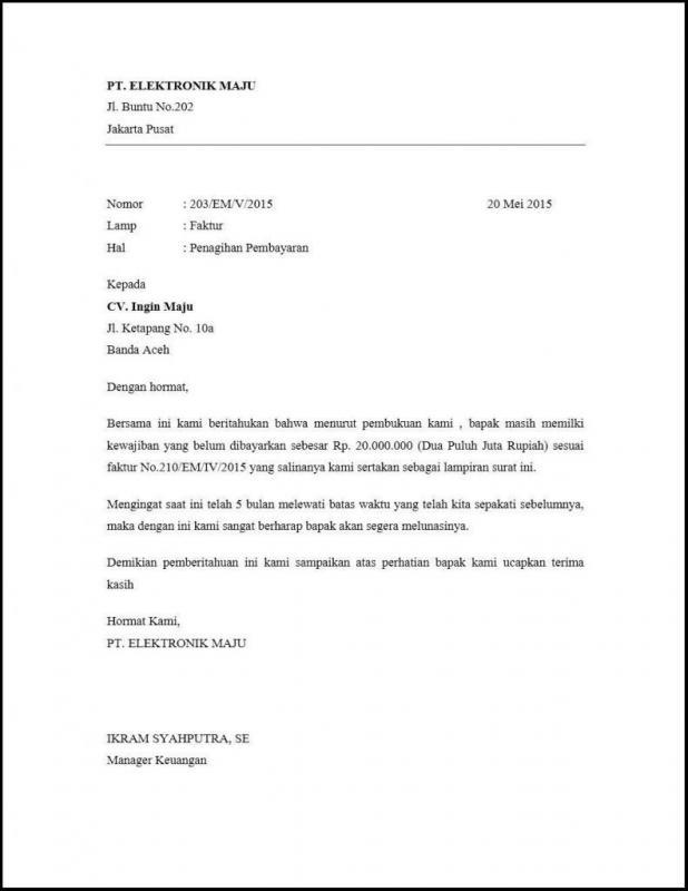 Contoh Surat Permohonan Bayar Pelunasan Jasa