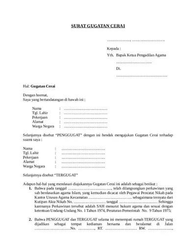 Contoh Surat Permohonan Cerai Karena Mengalami Kekerasan