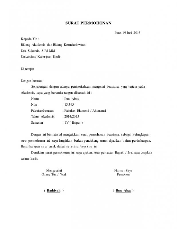 Contoh Surat Permohonan Dana Beasiswa