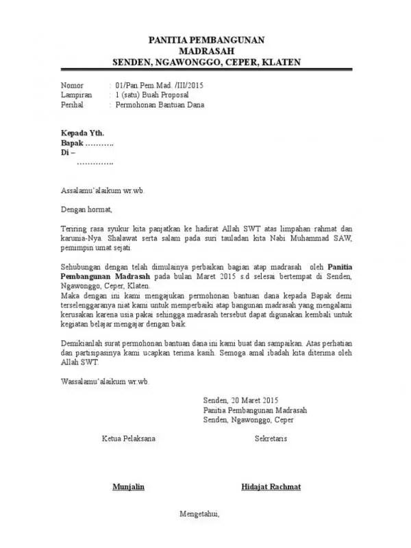 Contoh Surat Permohonan Dana Pembangunan