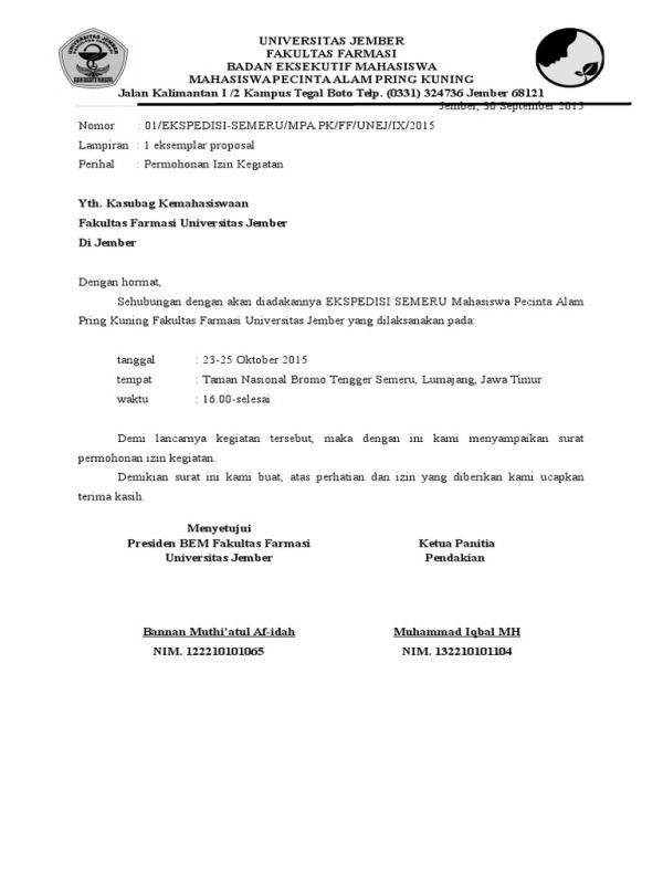Contoh Surat Permohonan Izin Kegiatan Ekstrakurikuler1