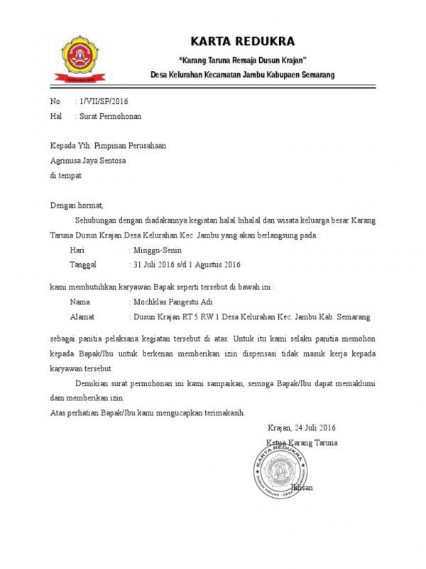 Contoh Surat Permohonan Izin Kegiatan Karang Taruna