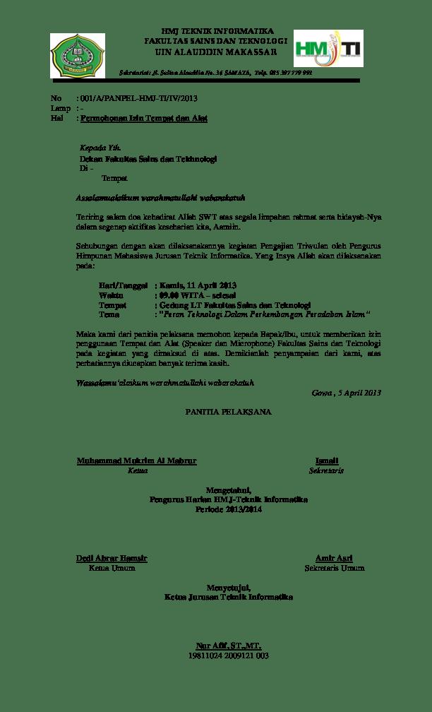 Contoh Surat Permohonan Izin Penggunaan Gedung Kampus