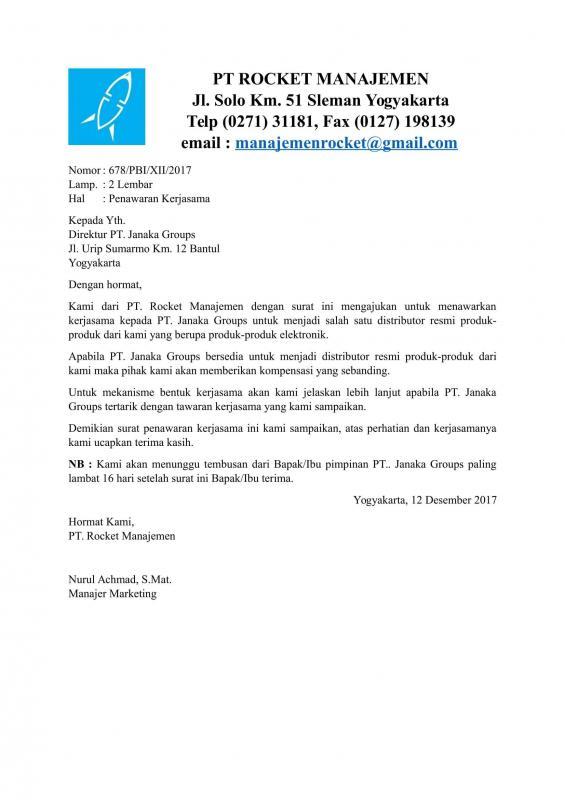 Contoh Surat Permohonan Kerjasama Bisnis